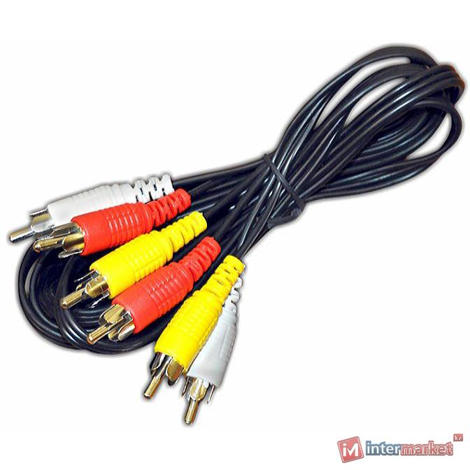 Интерфейсный кабель, SHIP, SH8053-1.5P, RCA, (тюльпаны, аудио-видео-звук), Пол. пакет, 1.5 м, Чёрный