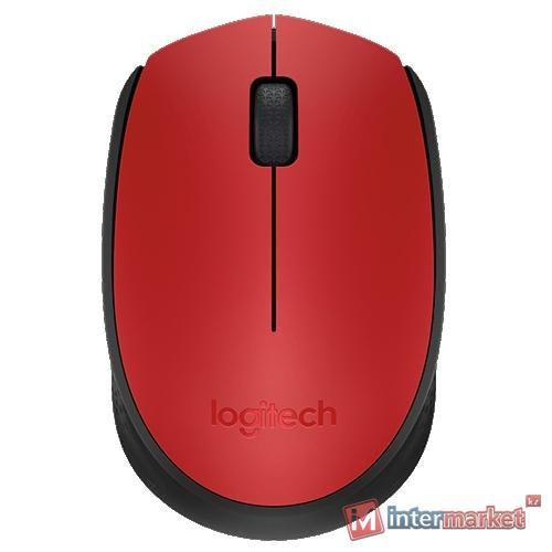 Мышь Logitech M171 Wireless Mouse Red USB